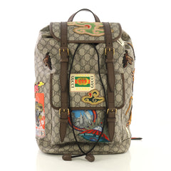 Gucci Courrier Soft Backpack GG Coated Canvas with Applique Large Brown 431351