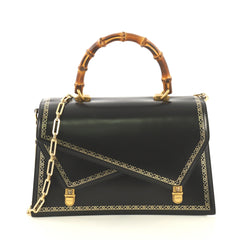 Gucci Ottilia Top Handle Bag Frame Print Leather Medium Black 431603