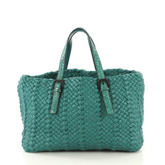 Bottega Veneta Empire Tote Intrecciato Lambskin Vernice with Snakeskin  Green 431672