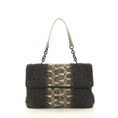Bottega Veneta Olimpia Shoulder Bag Intrecciato Nappa and Snakeskin Medium