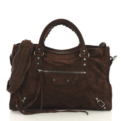 Balenciaga Baby Daim City Classic Studs Bag Suede Medium Brown 431941