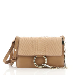 Chloe Faye Shoulder Bag Leather and Python Small Neutral 432041