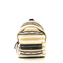 Saint Laurent City Backpack Embroidered Canvas Toy Black 432083