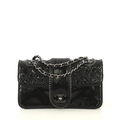 Chanel Madison Flap Bag Quilted Patent Medium Black 432084