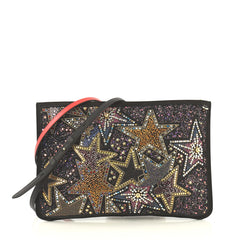 Christian Louboutin Loubiclutch Embellished Leather Black 4320859