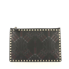 Valentino Love Blade Zipped Pouch Printed Leather Large Black 4320863