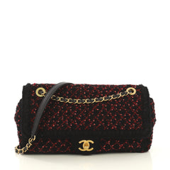 Chanel CC Chain Flap Bag Knit Fabric Medium Black 4320876