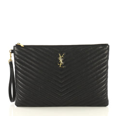 Saint Laurent Classic Monogram Wristlet Pouch Matelasse Chevron Leather Large