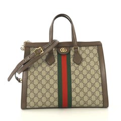 Gucci Ophidia Top Handle Bag GG Coated Canvas Medium Brown 4320886
