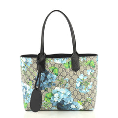 Gucci Reversible Tote Blooms GG Print Leather Small Blue 432251