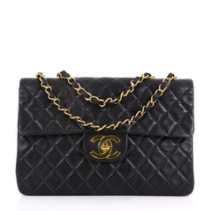 Chanel Vintage Classic Single Flap Bag Quilted Lambskin Maxi Black 4322922