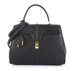 Celine 16 Top Handle Bag Grained Calfskin Medium Black 432323