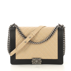 Chanel Bicolor Boy Flap Bag Quilted Lambskin Large