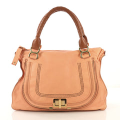 Chloe Marcie Turnlock Satchel Leather Large Pink 432453