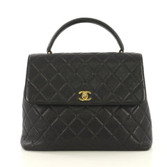 Chanel Vintage Classic Top Handle Flap Bag Quilted Caviar Jumbo Black 43250/2