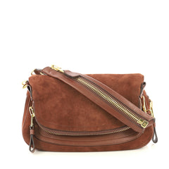 Tom Ford Jennifer Shoulder Bag Suede with Leather Medium Brown 432591