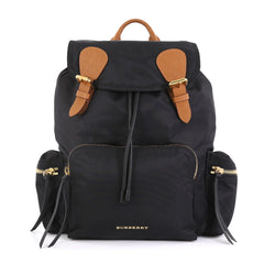 Burberry Rucksack Backpack Nylon with Leather Large Black 432811
