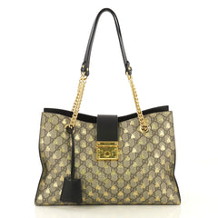 Gucci Padlock Chain Tote Printed GG Coated Canvas Medium Black 432871