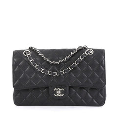Chanel Classic Double Flap Bag Quilted Caviar Medium Black 432911