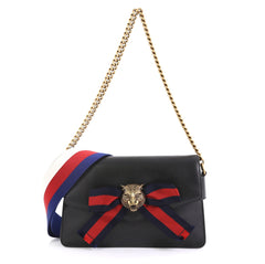 Gucci Animalier Broadway Bow Flap Bag Leather Mini Black 433144
