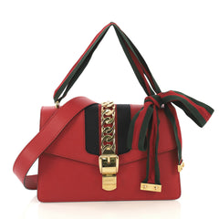 Gucci Sylvie Shoulder Bag Leather Small Red 433222