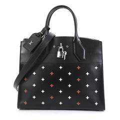 Louis Vuitton City Steamer Handbag Limited Edition Blooming Perforated Leather MM Black 4332710