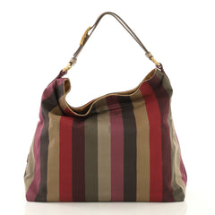 Fendi Pequin Hobo Canvas Gray 4332713