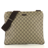 Gucci Zip Top Messenger Bag GG Coated Canvas Large Brown 433274