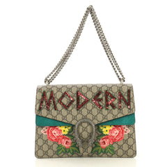 Gucci Dionysus Bag Embroidered GG Coated Canvas Medium Green 433277