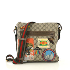 Gucci Courrier Zip Messenger GG Coated Canvas with Applique Medium Bro...