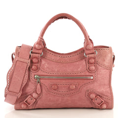Balenciaga City Giant Brogues Bag Leather Medium Pink 433402