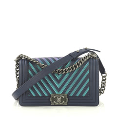 Chanel Boy Flap Bag Chevron Painted Calfskin Old Medium Blue 433551