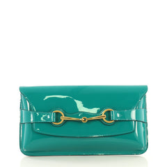 Gucci Bright Bit Clutch Patent Green 433573