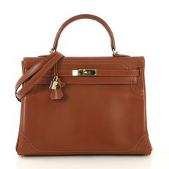 Hermes Kelly Ghillies Handbag Brown Tadelakt with Gold Hardware 35 Brown