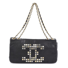Chanel Vintage Mosaic CC Flap Bag Studded Leather East West Black 4341610