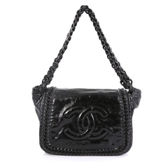 Chanel Resin Modern Chain Flap Bag Quilted Crinkled Patent Medium Black 434167