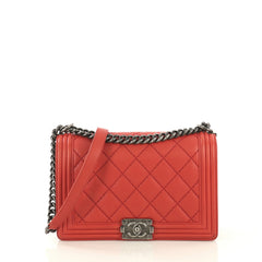 Chanel Stitch Boy Flap Bag Quilted Calfskin New Medium Red 434251