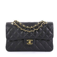 Chanel Vintage Classic Double Flap Bag Quilted Caviar Small Black 434411