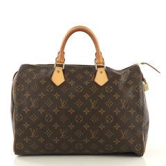 Louis Vuitton Speedy Handbag Monogram Canvas 35 Brown 4345001