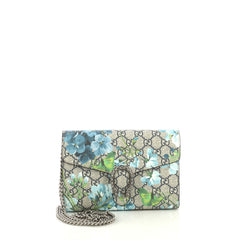 Gucci Dionysus Chain Wallet Blooms Print GG Coated Canvas Small Blue 4...