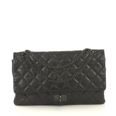 Chanel So Black Reissue 2.55 Flap Bag Quilted Glazed Aged Calfskin 227...