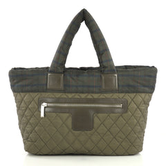 Chanel Coco Cocoon Zipped Tote Quilted Printed Nylon Medium Green 434731