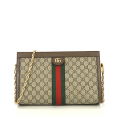 Gucci Ophidia Chain Shoulder Bag GG Coated Canvas Medium Brown 434801