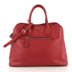 Prada Cuir Promenade Front Zip Tote Saffiano Leather Large Red 434891