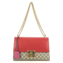 Gucci Padlock Shoulder Bag GG Coated Canvas and Leather Medium Red 434944