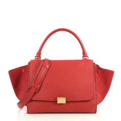 Celine Trapeze Handbag Leather Medium Red 435061