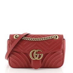 Gucci GG Marmont Flap Bag Matelasse Leather Small Red 4352010