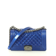 Chanel Boy Flap Bag Quilted Patent Old Medium Blue 435302