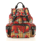 Burberry Graffiti Rucksack Backpack Vintage Check Canvas Large Red 435363