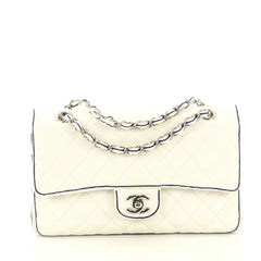 Chanel Classic Double Flap Bag Quilted Grosgrain Medium White 435419